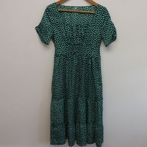 Tiered Green and White Floral Dress